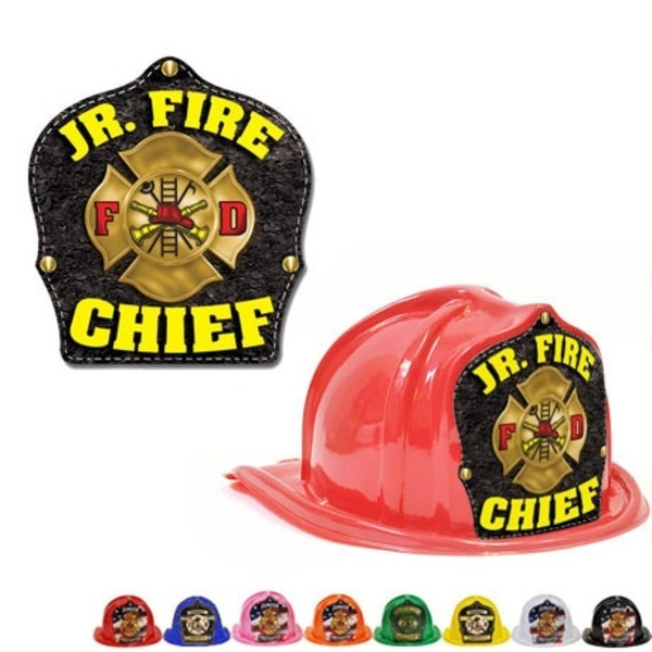 Chief's Choice Kid's Firefighter Hat, Leather & Gold Maltese Design, Stock