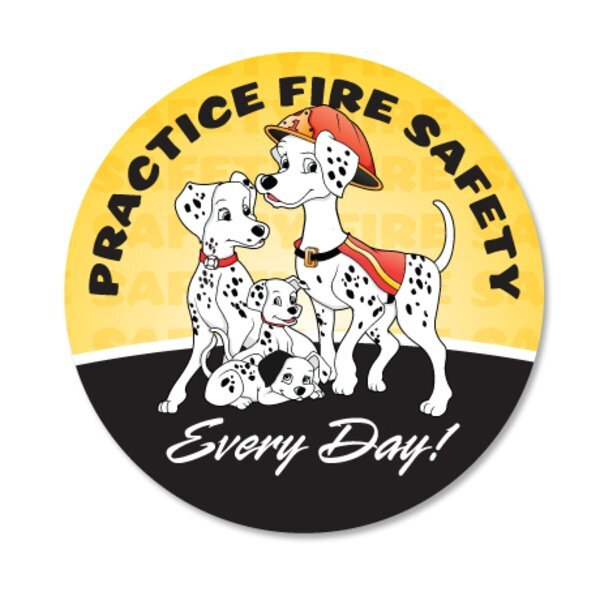 Practice Fire Safety Dalmatian Family Sticker Roll, Stock