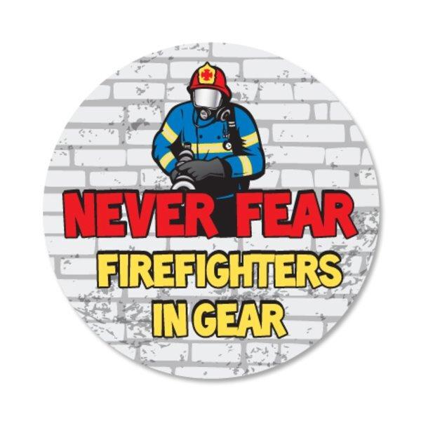 Never Fear Firefighters In Gear Sticker Roll, Stock