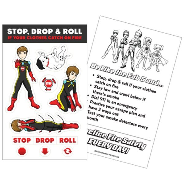 Stop, Drop & Roll Sticker Sheet, Stock - Closeout, On Sale!