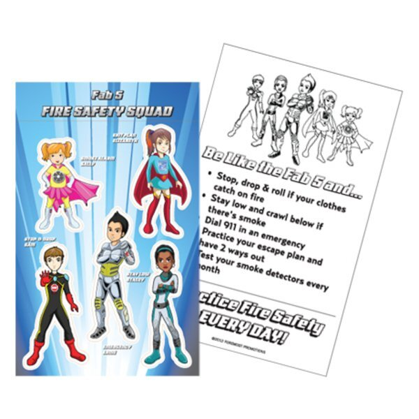 Fab 5 Fire Safety Squad Sticker Sheet, Stock - Closeout, On Sale!
