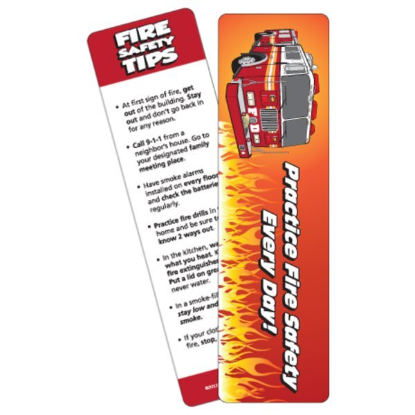 Practice Fire Safety Every Day Fire Truck Bookmark, Stock