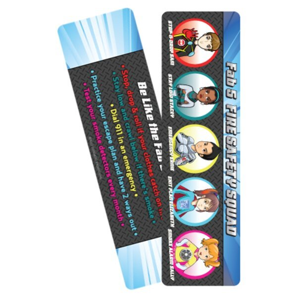 Fab 5 Fire Safety Squad Bookmark, Stock- Closeout, On Sale!