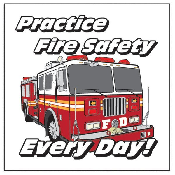 Fire Truck Practice Fire Safety Every Day Temporary Tattoo, Stock