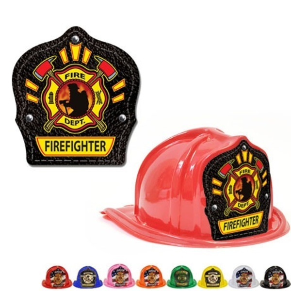 Chief's Choice Kid's Firefighter Hat, Leather & Flame Design, Stock