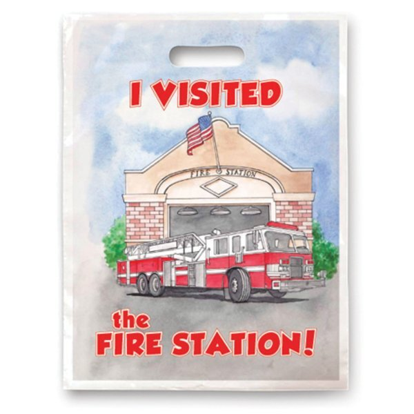 Digital Full Color I Visited The Fire Station Plastic Handle Bag, Stock