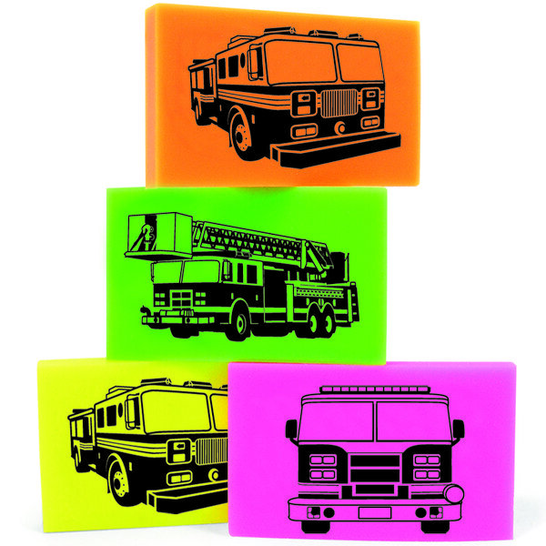 Fire Truck Erasers Mix, Stock