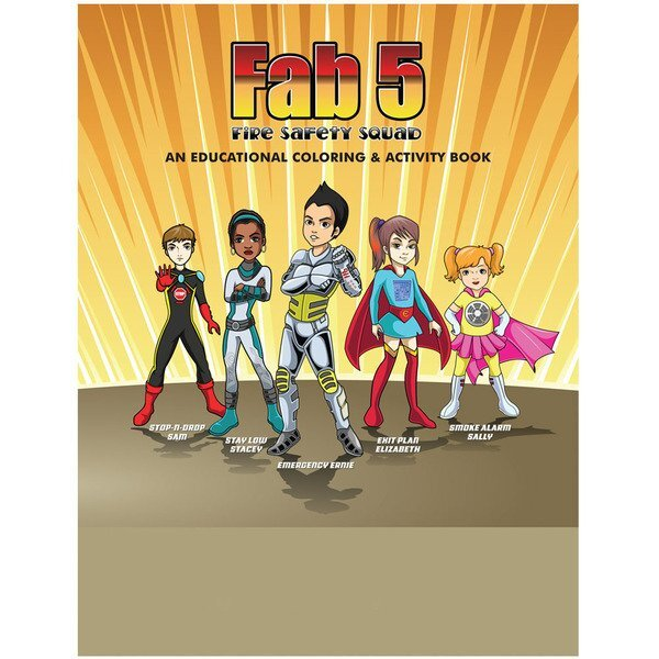 Fab 5 Fire Safety Squad Coloring Book, Stock - On Sale!