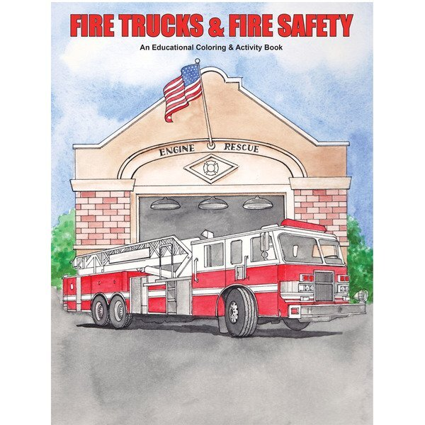 Fire Trucks & Fire Safety Coloring Book, Stock