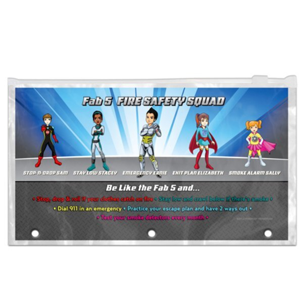 Fab 5 Fire Safety Squad Pencil Pouches, Stock - Closeout, On Sale!
