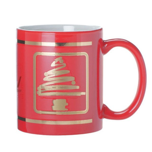 Ceramic Mug w/ Christmas Tree Design, 11oz. - Red