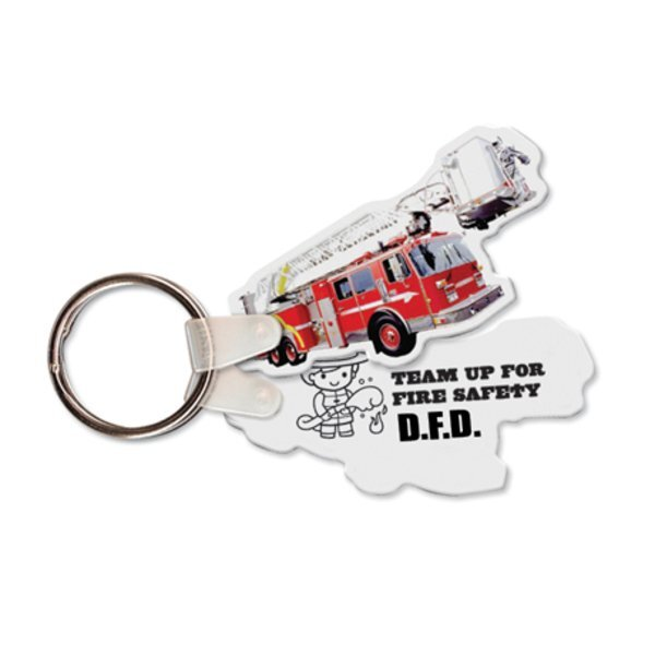 Ladder Fire Truck Full Color Key Tag