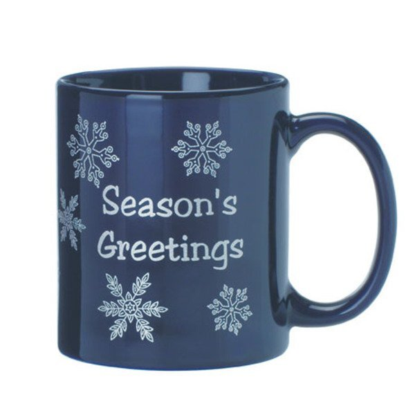 Ceramic Mug w/ Snowflake Design, 11oz. - Blue