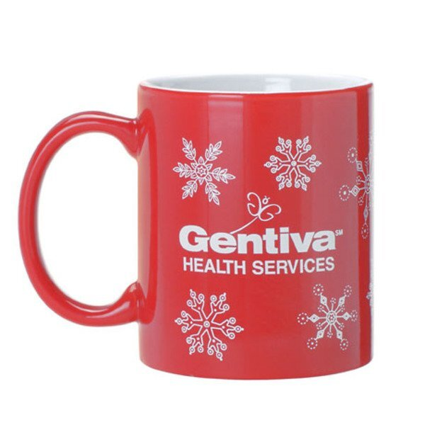 Ceramic Mug w/ Snowflake Design, 11oz. - Red