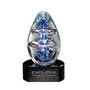 """Atom Egg Art Glass Award w/ Black Glass Base, 4"""""""