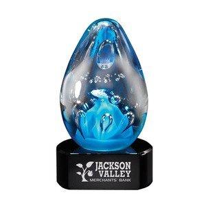 """Cobalt Egg Art Glass Award w/ Black Glass Base, 4-1/2"""""""