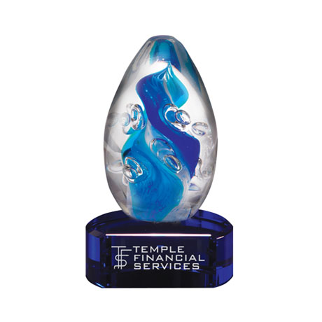 Pacifica Egg Art Glass Award w/ Blue Glass Base, 5""