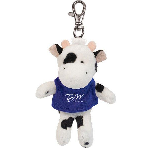 Black & White Cow Wild Bunch Plush Key Tag