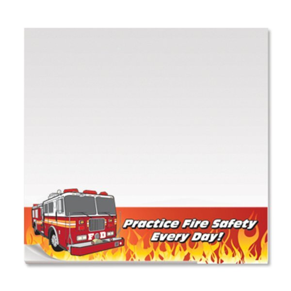 Practice Fire Safety Every Day, 25 Sheet Sticky Pad , Stock