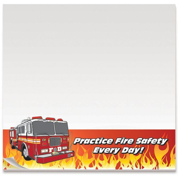 "BIC® Adhesive 25 Sheet Notepad, Practice Fire Safety, 3"" x 3"""