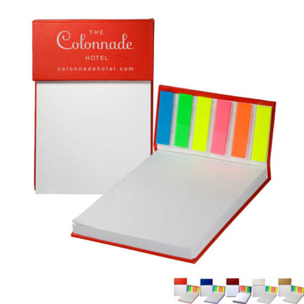 """Hardcover Sticky Flag Jotter Pad, 4"""" x 6"""""""