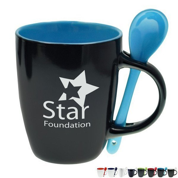 Ceramic Bistro Mug w/ Spoon, 12oz.