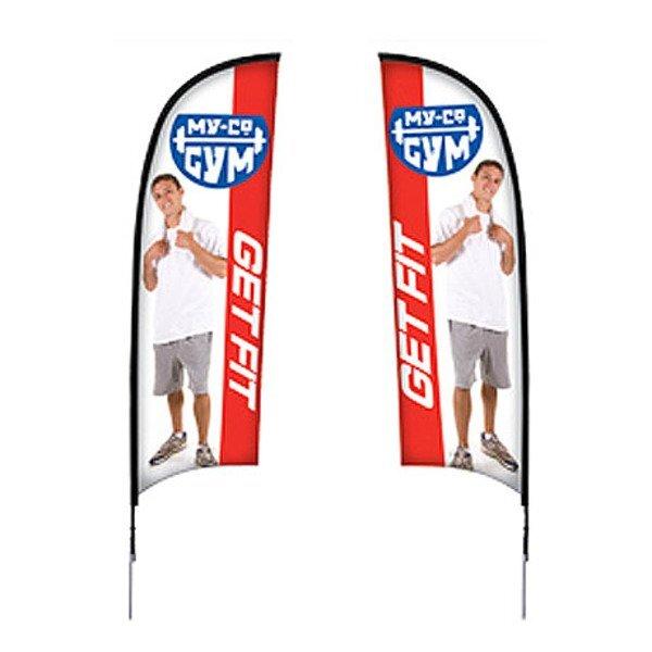 Razor™ Sail Sign Banner Kit - Double-Sided, Spike Base
