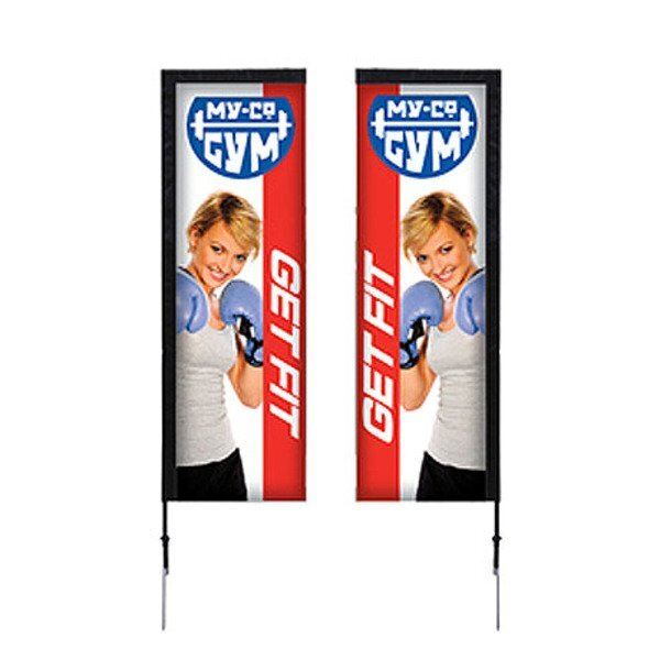 Rectangle Sail Sign Banner Kit - Double-Sided, Spike Base