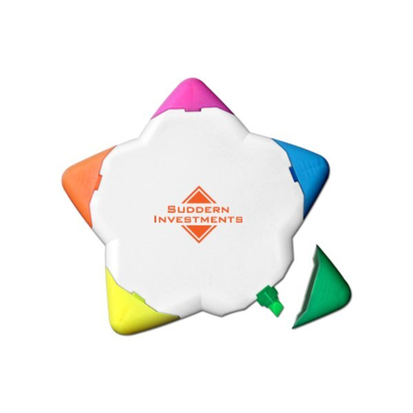 Five-Color Fluorescent Star Shaped Highlighter