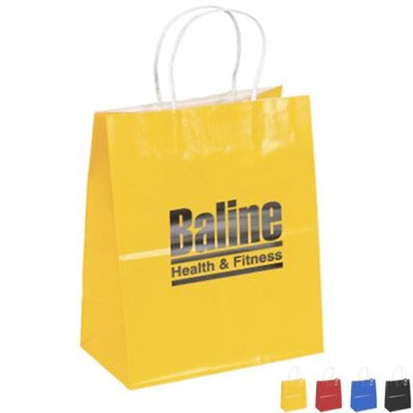 "Gloss Finish Paper Shopper, 7-3/4"" x 9-3/4"", Colors"