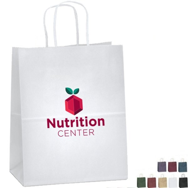 "Matte Paper Shopper Bag, 7-3/4"" x 9-3/4"" - Full Color Imprint"