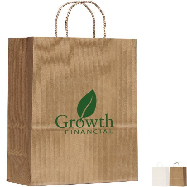 "Paper Shopper Bag w/ Stripes, 10"" x 12-3/4"""