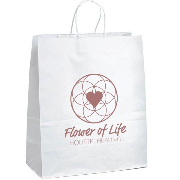 "White Paper Shopper Bag, 13"" x 15-3/4"""