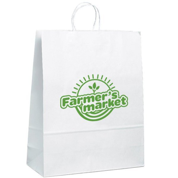 "White Paper Shopper Bag, 16"" x 19-1/4"""