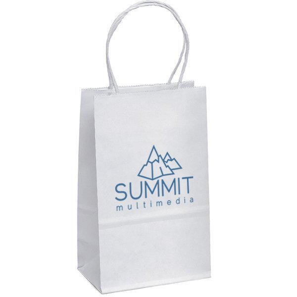 "White Paper Shopper Bag, 6"" x 8-1/4"""