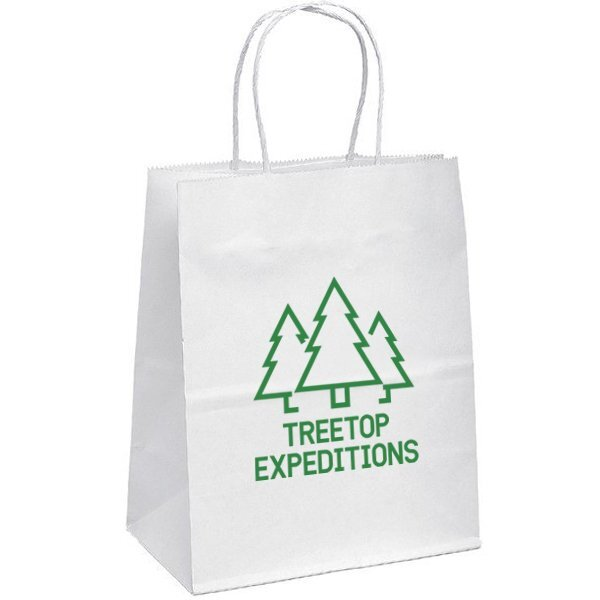 "White Paper Shopper Bag, 7-3/4"" x 9-3/4"""