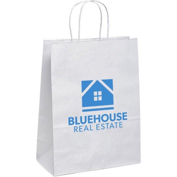 """White Paper Shopper Bag, 10"""" x 13"""""""