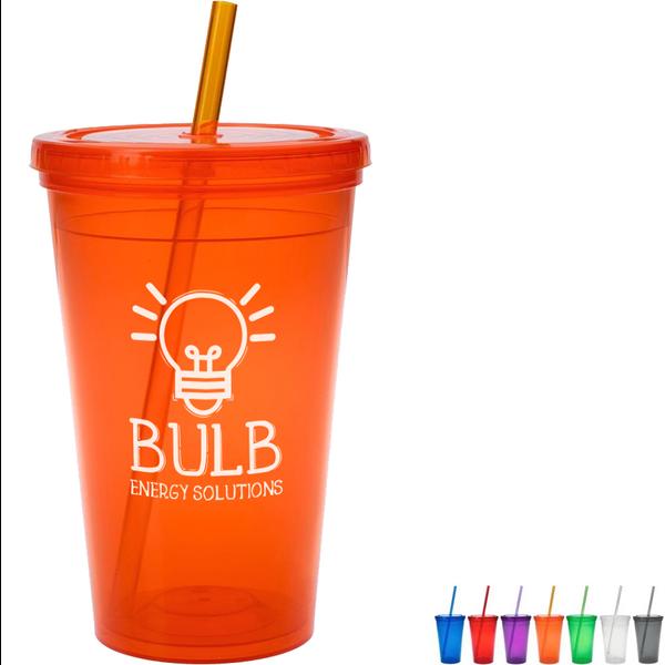 Economy Plastic Double-Wall Tumbler, 16oz., BPA Free