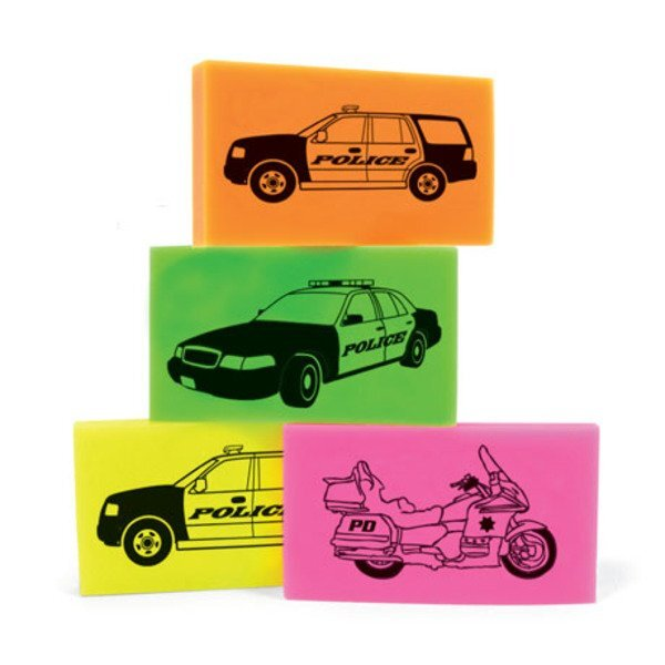 Police Vehicle Erasers, Assorted Stock