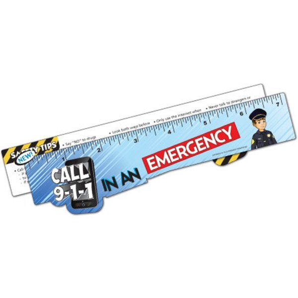 Call 911 Emergency Laminated Safety Ruler, Stock