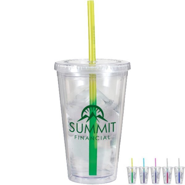 Dynamic Acrylic Tumbler w/ Mood Color Changing Straw, 16oz., BPA Free