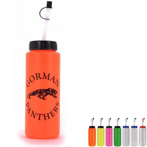 Sports Bottle w/ Flexible Straw, 32oz., BPA Free