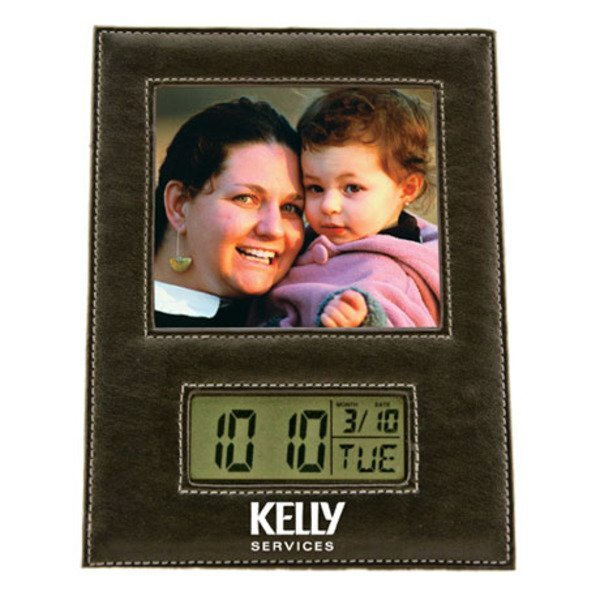Leather Photo Frame w/ LCD Clock