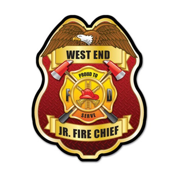 Junior Fire Chief Proud To Serve Plastic Badge