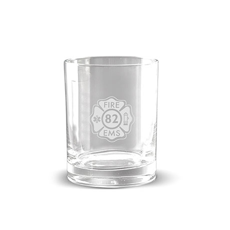 Deep Etched Double Old Fashion Glass, 14oz.