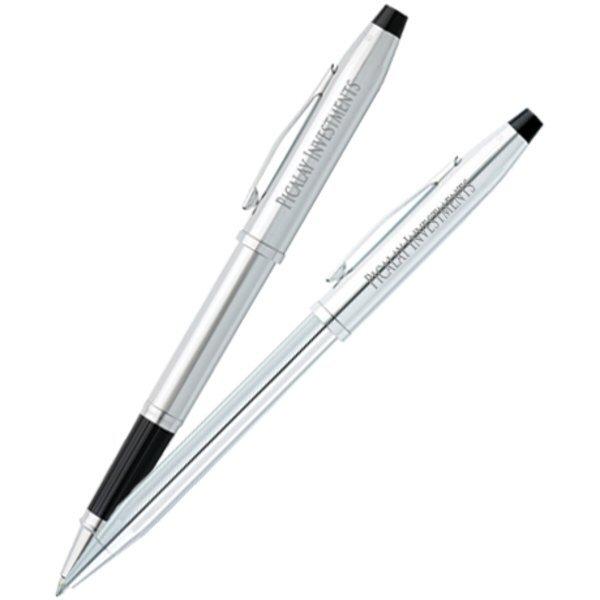 Cross® Century II Lustrous Chrome Ballpoint & Rollerball Metal Gift Pen Set