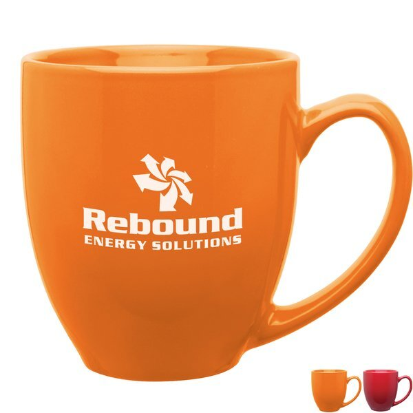 Glossy Bistro Ceramic Mug, 15 oz. - Bright Colors