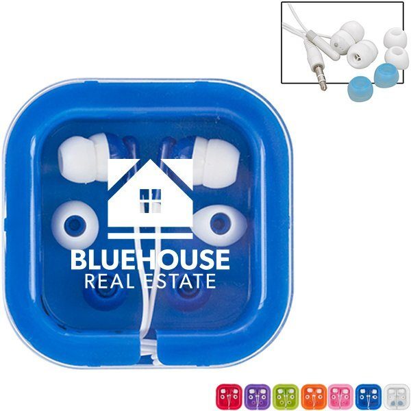 Brightly Colored Ear Buds in Case
