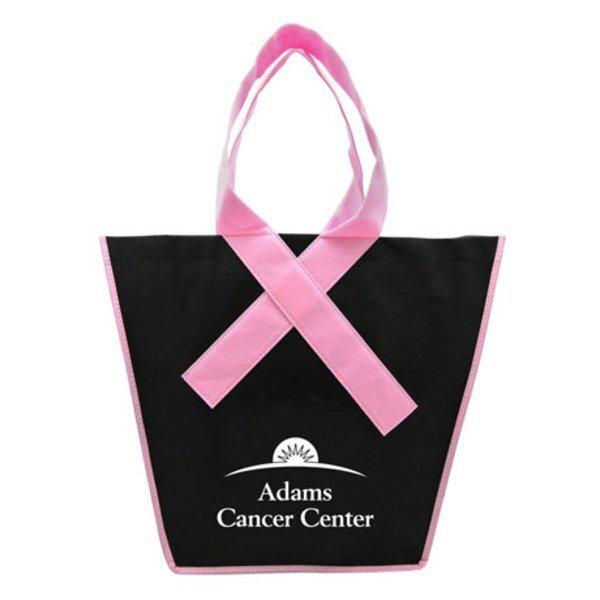 Pink Ribbon Handle Non Woven Shopper Tote