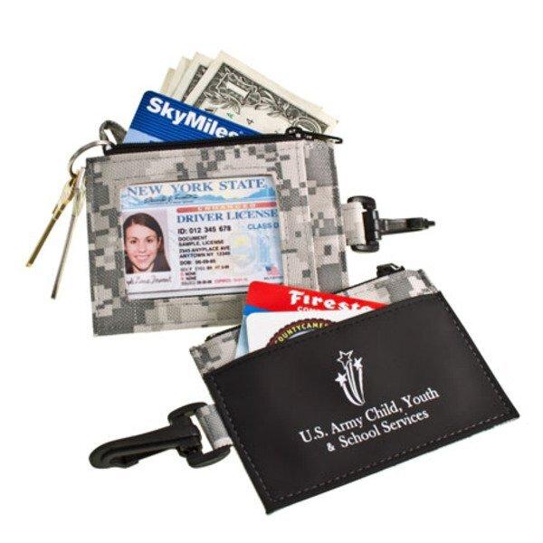 Digital Camo ID Clip with Secure Zip Pocket